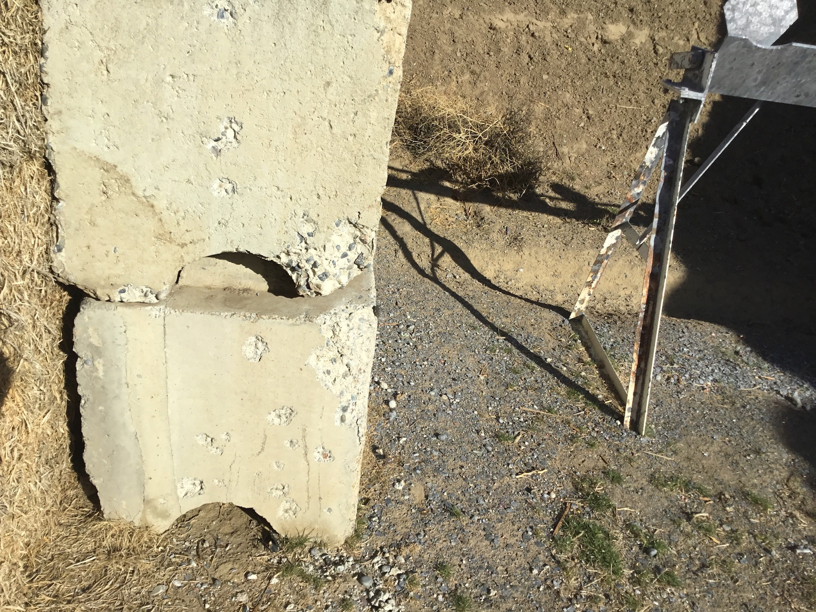 Close up of gun fire damage to the ecoblocks in the falling plate bays